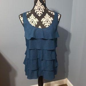 Ann Taylor Loft   blue ruffle top